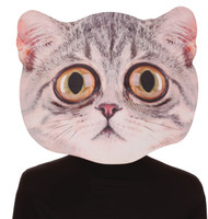 Become the cats meow with this large mask featuring a cool big eyed cat. Mask looks incredibly real! One size fits most adults. Giant masks are 13 in. x 18 in. and made of foam board.
