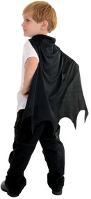 Your child will love this bat cape! Childs black bat cape. Black cape with scalloped edges. One size fits most toddlers.