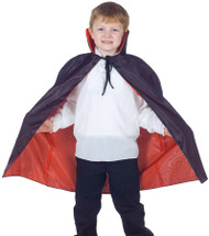 Your child will look great in this reversible cape. This black and red cape is reversible and has a tie on the neck.  One size fits most children.