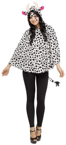 PONCHO COW HOODED
