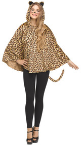 PONCHO LEOPARD HOODED