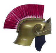 ROMAN HELMET GOLD W RED BRUSH