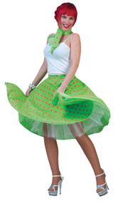 SOCK HOP SKIRT ADLT GREEN PINK