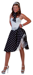 SOCK HOP SKIRT ADULT BLACK WHI