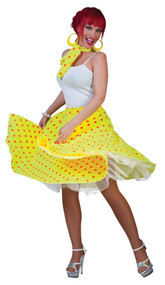SOCK HOP SKIRT ADULT YELLOW OR
