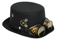 STEAMPUNK HAT BLACK W/GOGGLES