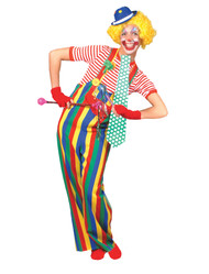 STRIPED CLOWN OVERALLS AD MED