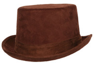 TOP HAT FAUX SUEDE ADULT BROWN
