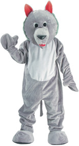 WOLF MASCOT GREY ADULT ONE SZ Front View