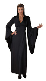 Robes don't get much sexier than this! Sexy black hooded dress/robe with low cut front and extra flared sleeves. Fits women's sizes 12-14. 100 percent polyester.