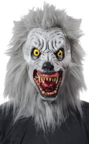 Howl at the moon in this very realistic albino werewolf mask. Full over-the-head deluxe latex Werewolf mask with fur and realistic teeth. One size.