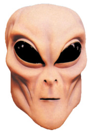 Flesh colored alien latex mask with large black eyes