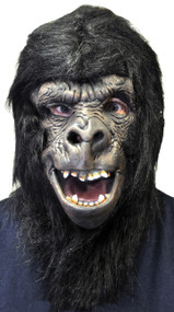 Dr. Evil's Deluxe full over-the-head collector's quality latex hand-painted movie mask. By Famous Hollywood Makeup Artist, Steve Wang. Black Ape mask with hair and open mouth showing teeth.