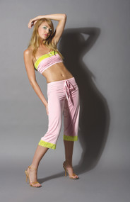 DRAWSTRING CROPPED PANTS PINK