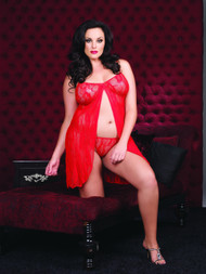 LACE OPEN FRONT BABYDOLL RED