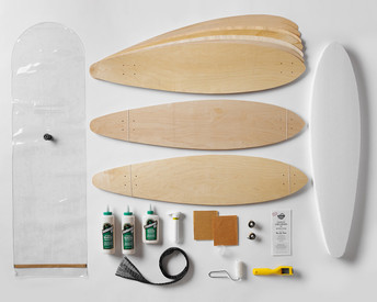 Kit contains everything you need to make 3 pintail longboards: 100% Canadian maple veneer sheets, mold for shaping, glue, roller, Thin Air Press and finishing tools