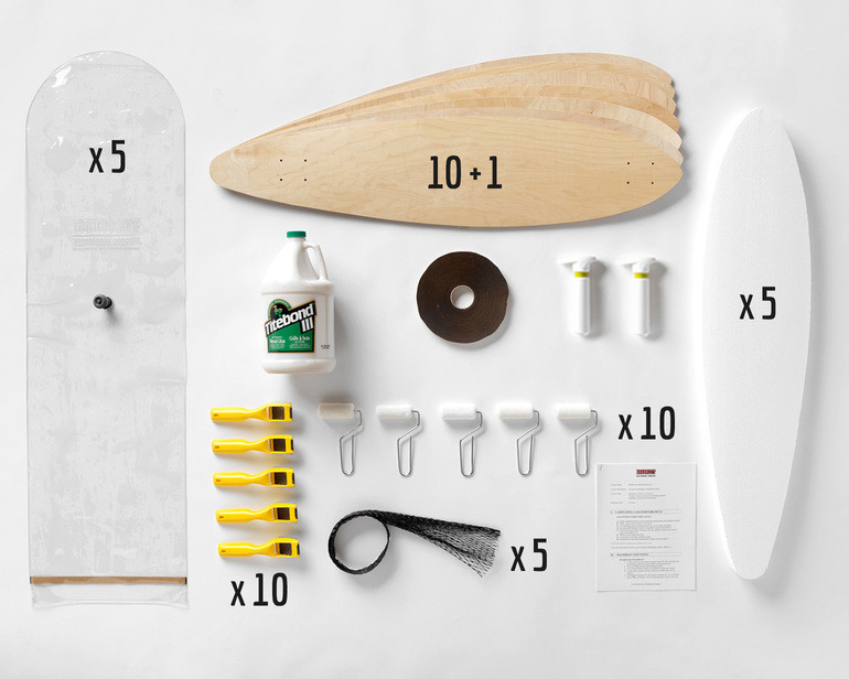This Multi-Pack provides enough material for a group of 10 students to all build Pintail longboards