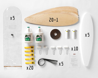 This Multi-Pack provides enough material for a group of 20 students to all build Pintail longboards