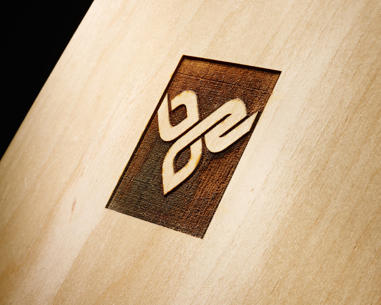 Laser Etch your brand directly onto the face veneer sheets of any size veneer sheet or pre-shaped set.