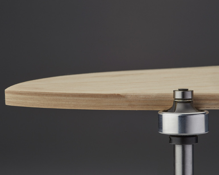 Trims a perfectly rounded edge on a 3-dimensionally shaped skateboard. Sorry - these are temporarily OUT OF STOCK right now.