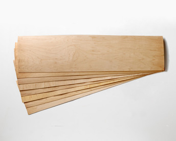 """Slightly smaller! 11 x 41 x 1/16"""" Maple skateboard veneer.   Order as many 8-layer sets as you want, no minimum!"""