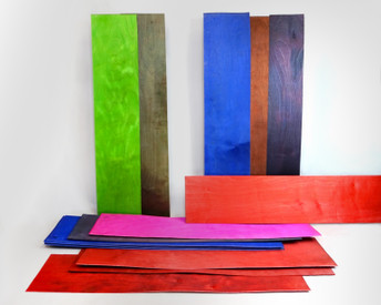 A smaller slimmer pack of assorted colored maple veneer sheets, that shimmer!