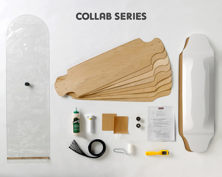 This kit is a more advanced skateboard build than our other kits and produces a custom drop deck longboard with wheel wells.