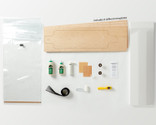 Kit contains everything you need to make 1 of 8 possible Multiboard skateboards: Canadian maple veneer sheets, mold for shaping, glue, roller, Thin Air Press and finishing tools