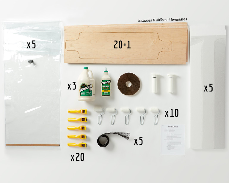 This Multi-Pack provides enough material for a group of 20 students to all build Multiboard longboards.
