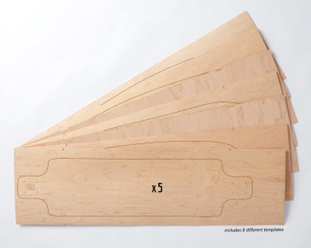 Five sets of Multiboard Longboard maple veneer 7-layer sets, each set allows you to make 1 of 8 possible board shapes.