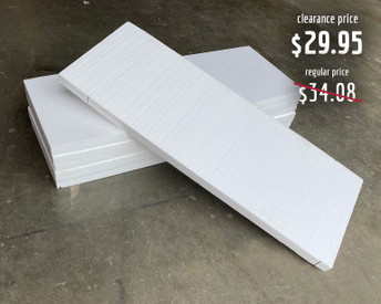 """Each foam slab is approximately 1"""" thick, 25.5"""" long, and 9.5"""" wide."""
