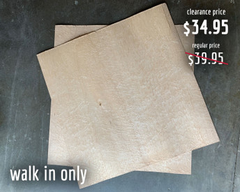 """36 x 36 x 1/16"""" sheets of bird's eye maple veneer. These sheets are available for walk-in/curbside pickup only as they cannot safely be packed for shipping."""
