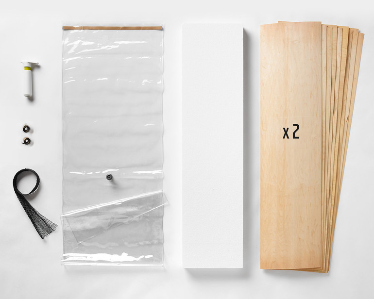 "A 20x70"" Thin Air Press Kit, plus two 9-layer sets of maple longboard 12 x 47"" veneer, and a slab of foam for shaping your custom mold."