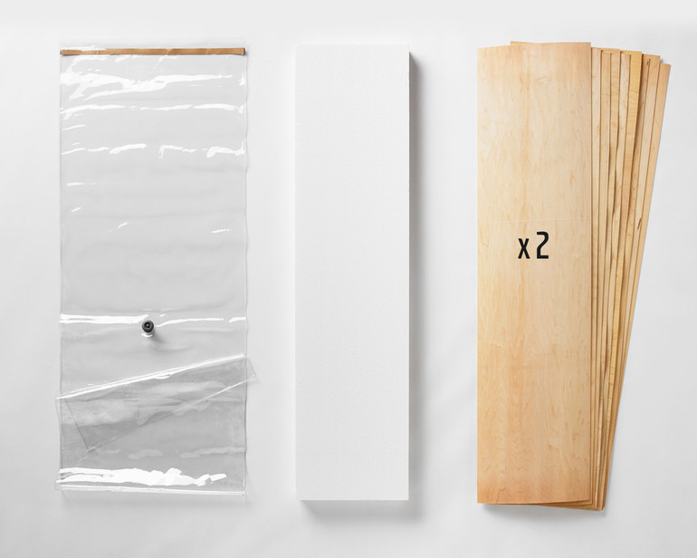 "A 20x70"" Thin Air Press Bag (no pump), plus two 9-layer sets of maple longboard 12 x 47"" veneer, and a slab of foam for shaping your custom mold. You can specify either maple or birch, or a mix of both."