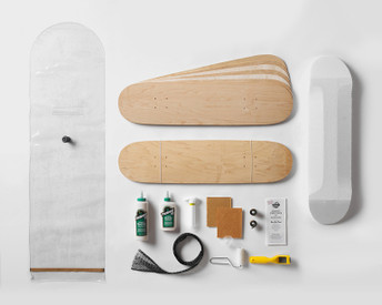 Kit contains everything you need to make 2 Street Decks: 100% Canadian maple veneer sheets, mold for shaping, glue, roller, Thin Air Press and finishing tools