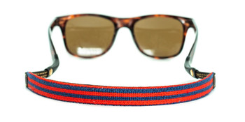 Red and Navy Stripes Needlepoint Sunglass Strap