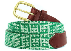 Green Geometric Needlepoint Belt