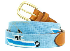 Yacht Fishing Needlepoint Belt