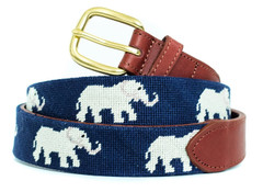 Elephants Needlepoint Belt