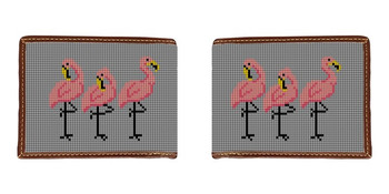 Fancy Flamingos Needlepoint Wallet