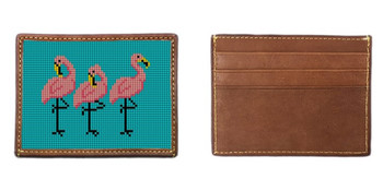 Fancy Flamingos Needlepoint Card Wallet