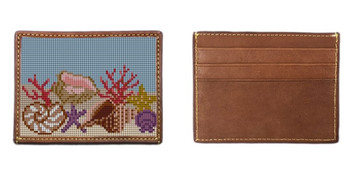 Seashell Needlepoint Card Wallet