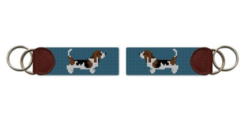 Basset Hound Needlepoint Key Fob