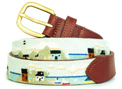 Seaside Village Needlepoint Belt