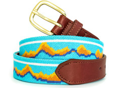 Montana Mountains Needlepoint Belt