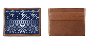 Winter Skiing Needlepoint Card Wallet