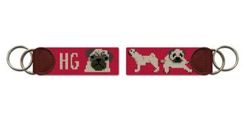 Preppy Pug Needlepoint Key Fob