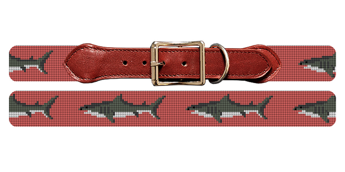 Great White Shark Needlepoint Dog Collar
