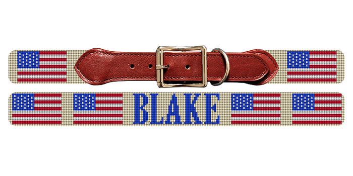 American Flag Needlepoint Dog Collar