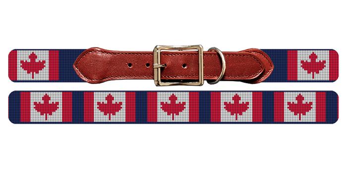Canada Flag Needlepoint Dog Collar
